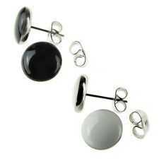 8mm Black White Satalite Saucer Coin Round Button Stainless Steel Stud Earrings