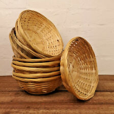 Vintage Round Natural Bamboo Wicker Bread Basket Storage Hamper Display Trays