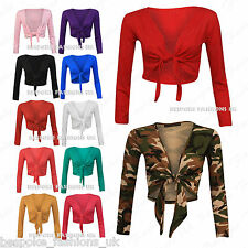 H7D Women's Long Sleeve Tie up Ladies Bolero Shrug Cardigan Top SM / ML