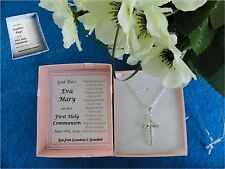 PERSONALISED COMMUNION GIFT BOX DIAMANTE CROSS NECKLACE CONFIRMATION BOY GIRL