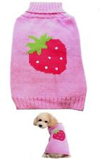 Dog Sweater Pink Strawberry XXS XS S M L -  Coat Puppy Pet Clothes Jacket Jumper