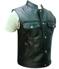 Mens Bikers Vest Real Black Sexy Cow Leather Waistcoat Motorcycle  Jacket