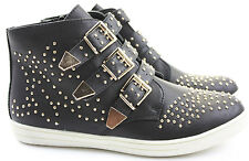 Womens Trainer Flat Lace up Ankle High Top Style Boots Studded Shoes Size