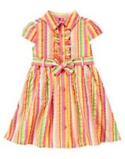 GYMBOREE TEA TIME AFTERNOON SEERSUCKER STRIPE BELTED DRESS 3 4 5 6 7 8 9 12 NWT