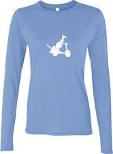 """KANGAROO ON A SCOOTER""  BIKE LADIES LONG SLEEVE SHIRT BLACK WHITE BLUE"