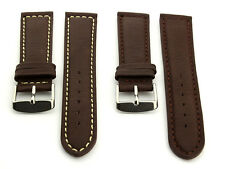 Mens Genuine Leather Watch Strap Band Corsair Stainless Steel Buckle Spring Bars