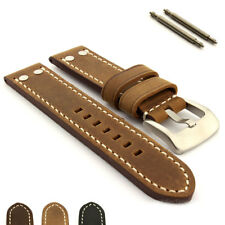 Men's Genuine Leather Watch Strap Band Marina with Rivets SS Buckle Spring Bars