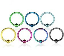 """2pc. 18g~1/4"""", 5/16"""", 3/8"""" Titanium Plated Steel Captive Bead Ring with 2.5 ball"""