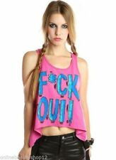 ABBEY DAWN IRON FIST F*CK OUI SLEVELESS TANK TEE T SHIRT PINK PURPLE