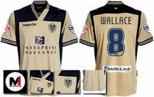 *13 / 14 - MACRON ; LEEDS UTD AWAY SHIRT SS + ARM PATCHES / WALLACE 8 = SIZE*