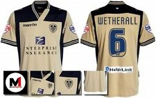 *13 / 14 - MACRON ; LEEDS UTD AWAY SHIRT SS + ARM PATCHES / WETHERALL 6 = SIZE*