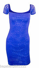 NEW ROYAL BLUE SEXY LACE WIGGLE PENCIL BODYCON CLUBBING PARTY CAP SLEEVES DRESS