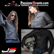 giacca in pelle moto jollisport layla nero scooter jacket leather donna lady