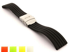 Silicone Rubber Watch Strap Band Waterproof Deployment Clasp GS Spring Bars