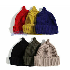 Women/Men Pointy Knit Hat Beanie Crochet Cuff Wool Cap Skull Winter Warm Ski New