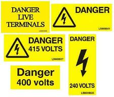 Electrical Warning Stickers Danger, 400, 415, 240, Live Terminals, Consumer Unit