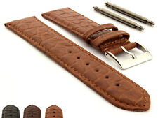 Mens Genuine Crocodile Leather Watch Strap Band Miami CM Buckle and Spring Bars