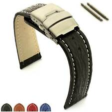 Two-Piece Genuine Shark Leather Skin Watch Strap Band Deployment Clasp