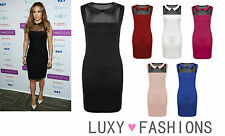 Womens/Ladies Mesh Peter Pan Collar Celeb Style Stretch Bodycon Mini Dress 8-14