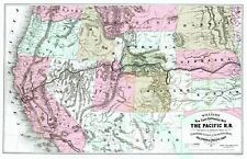 Old Railroad Map - Pacific Railroad with Routes to California 1877 - 23 x 35.70