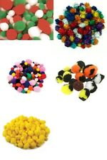Fluffy Pom Poms Craft Yellow, Glitter, Christmas, Animal, Coloured 25-300pcs