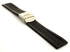 Mens Silicone Rubber Watch Straps Band Waterproof Deployment Clasp Winter Tyre