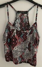 Topshop White Red Aztec Print Cami Camisole Top BNWT UK Petite 4 8 10 Racer Back