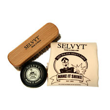 Selvyt Polishing Cloth, Buffing Brush + Wax Polish Shoe Care Kit