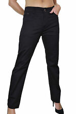 Womens Straight Mid Rise Stretch Jeans Slight Sheen Black NEW Size 14