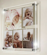 """Acrylic 18x18"""" x10mm wall picture photo frame for 1x 10x7 & 4 6x4 all colours"""