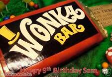 PERSONALISED A4 WILLY WONKA BAR/CHOCOLATE  FACTORY ICING/RICE PAPER CAKE TOPPER