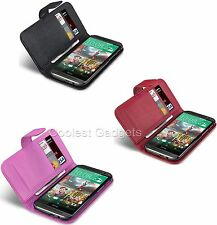 HTC One M8 (2014) Quality Premium PU Leather Wallet Case Cover With 2 Card Slots