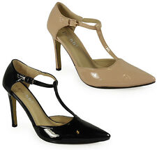NEW WOMENS LADIES PATENT HIGH STILETTO HEELS T-BAR STRAPS SHOES SANDALS SIZE