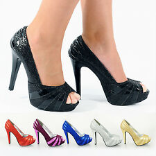 NEW WOMENS LADIES HIGH STILETTO HEEL GLITTER PLATFORM PEEP TOE PARTY SHOES