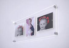 """CHESHIRE ACRYLIC 24x9.5"""" multi magnetic floating picture photo FRAME 3x 5x7"""""""
