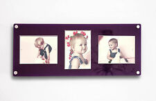 """ACRYLIC 24x9.5"""" multi magnetic picture photo FRAME for 3x 5x7"""" all colours"""
