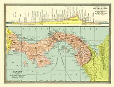 Old Central America Map - Panama with Profile of Canal 1904 - 23 x 29
