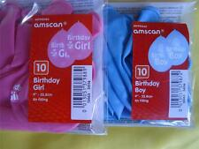 10 BALLOONS -  BIRTHDAY BOY, BLUE  or BIRTHDAY GIRL , PINK - PARTY DECORATIONS