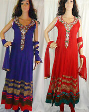 Ladies Bollywood Long Anarkali Suit Wedding Party Asian Traditional Dress