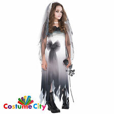Teen Girls Graveyard Zombie Ghost Bride Halloween Fancy Dress Party Costume