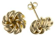 9CT GOLD  YELLOW ROSE 3 COLOUR 8MM WOOLMARK KNOT BALL STUD EARRINGS GIFT BOX