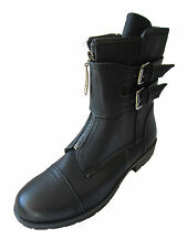 "LADIES SPOT ON BLACK BIKER-STYLE ANKLE BOOTS ""F50309"""
