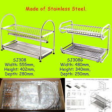 Stainless Steel Dish Drainer Rack Drip Tray Cutlery Plates Cup Dryer Holder