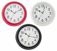 30CM ROUND STATION CLOCK RED / CREAM / WHITE HOME WALL CLOCK