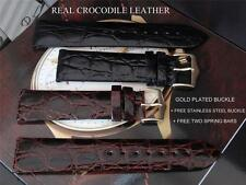 REPLACEMENT CROCODILE LEATHER THIN STRAP BLACK/ BROWN TO FIT YOUR IWC WATCH