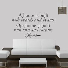A House Is Built Of  Quote Vinyl Wall Art ,Sticker,Decal Any Room (b)