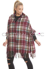 Central Chic Hooded Tartan Check Blanket Wrap Cape  *UK Seller*Fast Dispatch*