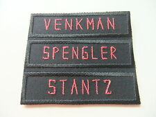 GHOSTBUSTERS STYLE PERSONALISED  NAMETAPE BLACK&RED, CHOICE OF BACKING