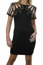 ICE (3002-1)  Stretch Bodycon Dress Sequin Covered Shoulders Black size 6 & 8