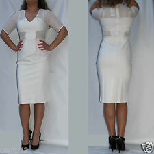 NEXT White Mesh Insert Stretch Bodycon Wiggle Pencil Dress Wedding Party
